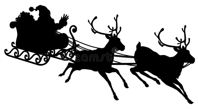 Santa Sleigh Silhouette. Illustration of Santa Claus in his sleigh flying through the sky being pulled by his reindeer royalty free illustration