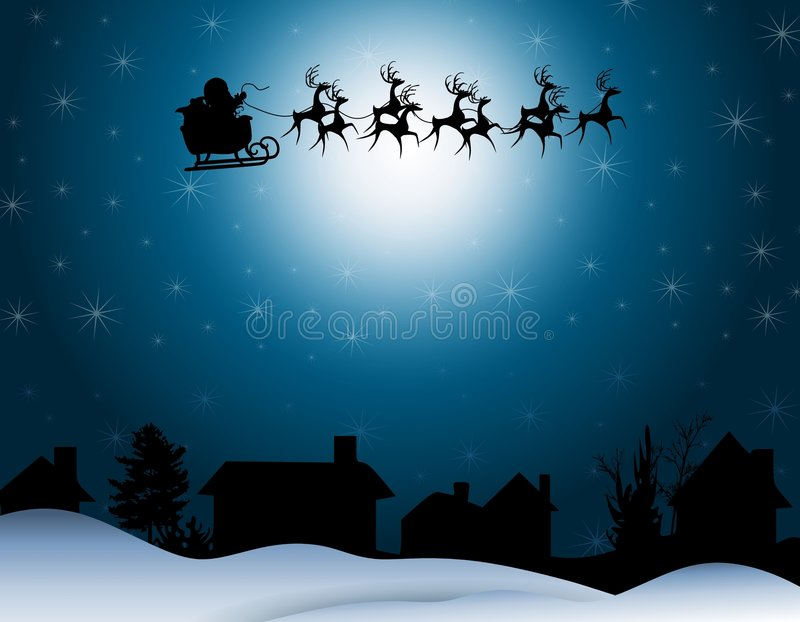 Santa Sleigh Silhouette Night. An illustration faturing a silhouette of Santa Claus in his sleigh with reindeer against blue sparkling star background and rows vector illustration