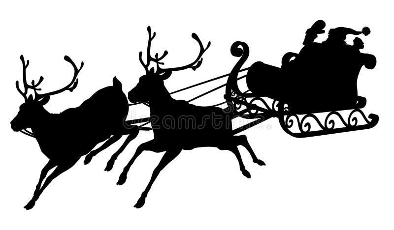 Santa sleigh silhouette. Of waving Santa Claus in his sleigh and reindeer stock illustration