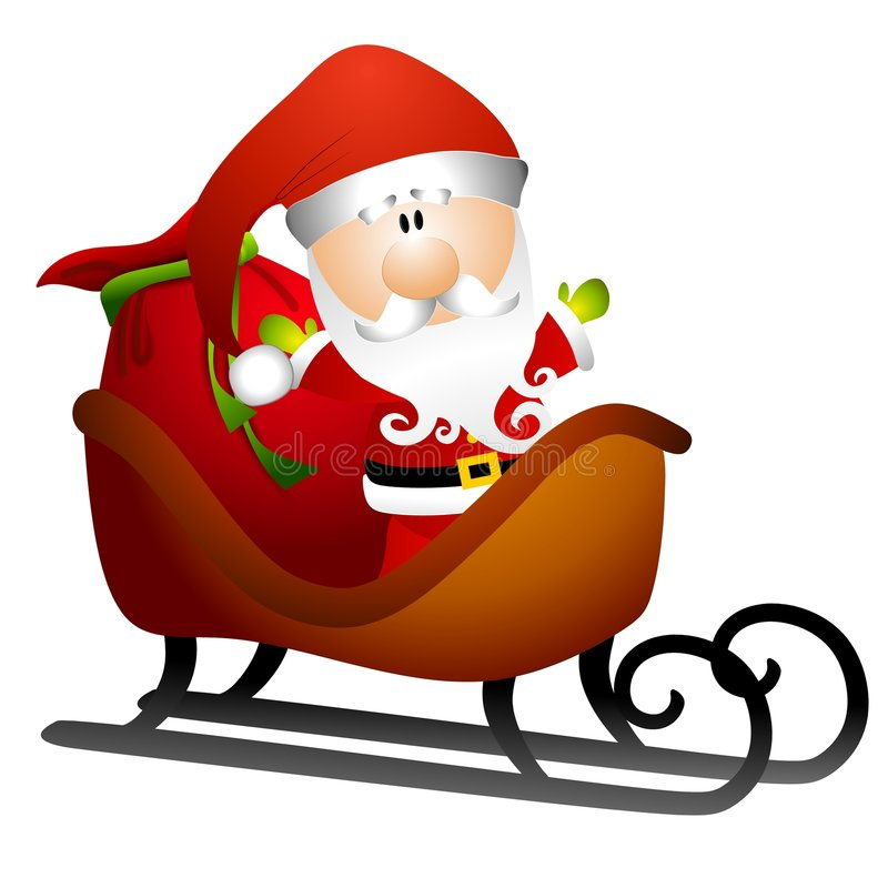 Santa in Sleigh of Toys 2. An illustration featuring a cartoonish Santa Claus sitting in his sleigh with sack of toys vector illustration