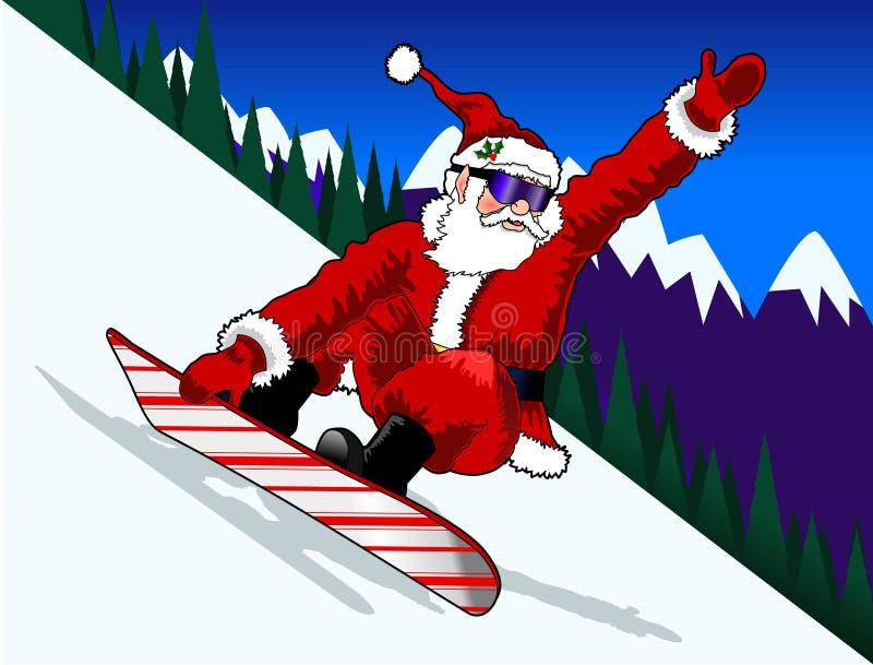 Santa_snowboard_01 royalty-vrije illustratie