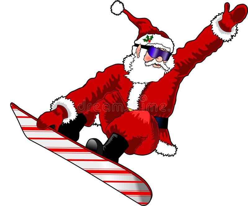 Santa_snowboard_02 stock de ilustración