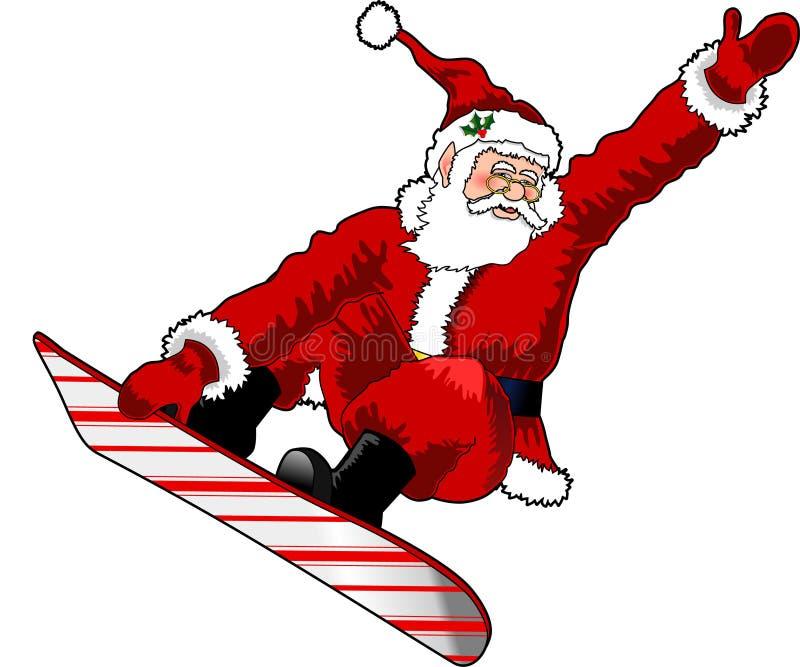 Santa_snowboard_03 vector illustratie