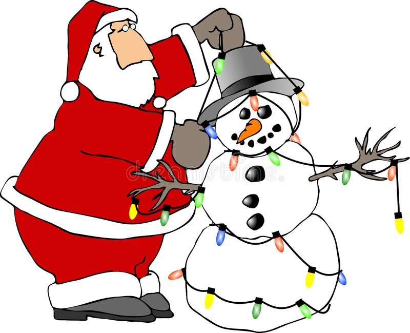 santa snowman royaltyfri illustrationer