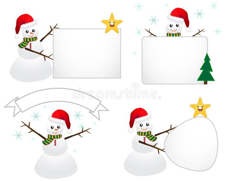 Download Santa Snowman with Sign stock illustration. Illustration of golden - 16872719