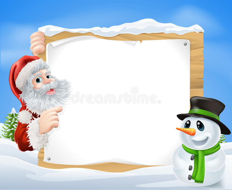 Santa Snowman Snow Scene stock illustratie