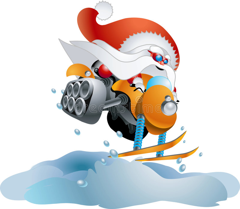 Santa on snowmobile royalty free illustration