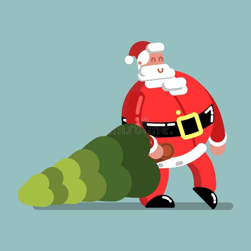 Santa soutient l'arbre de nouvelle année illustration stock
