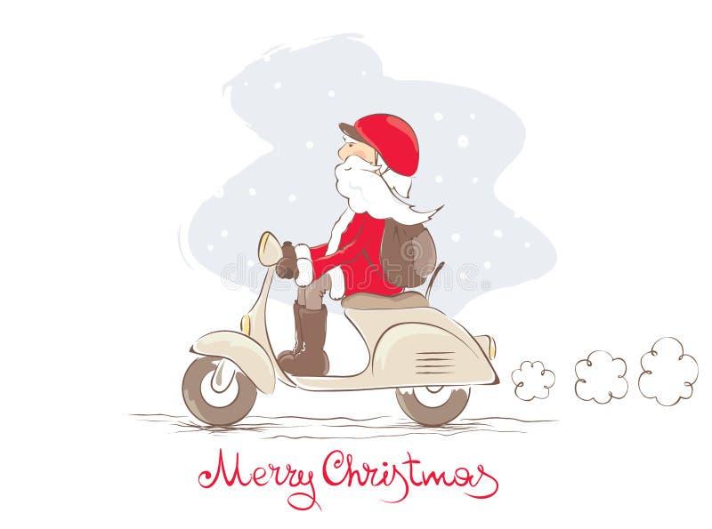 santa sparkcykel stock illustrationer