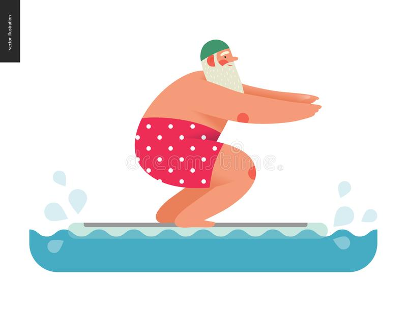 Santa sportive - ajustement de flotteur de piscine illustration stock