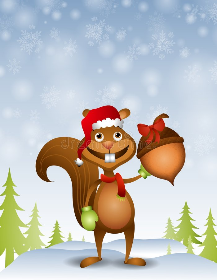 Santa Squirrel With Acorn Gift. An illustration featuring a cartoonish squirrel wearing santa hat and holding an acorn as a gift in the snow vector illustration