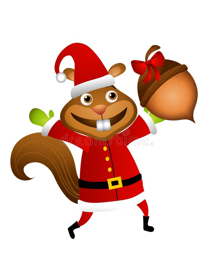 Santa Squirrel Acorn Gift stock illustration