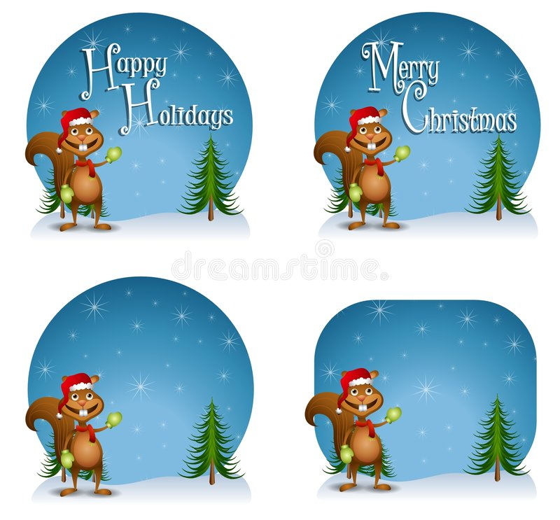 Santa Squirrel Backgrounds. A background illustration featuring a squirrel wearing Santa hat with your choice of 'Happy Holidays', 'Merry Christmas' or blank vector illustration