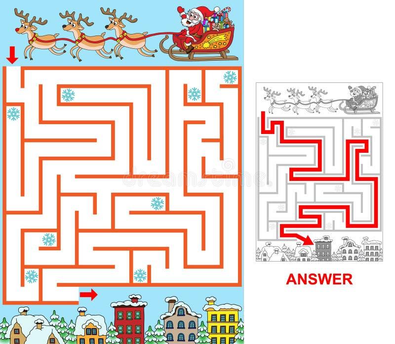Santa sta cercando una città illustrazione vettoriale