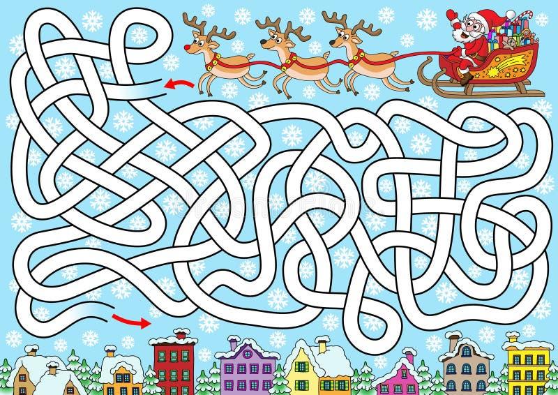 Santa sta cercando una città illustrazione di stock