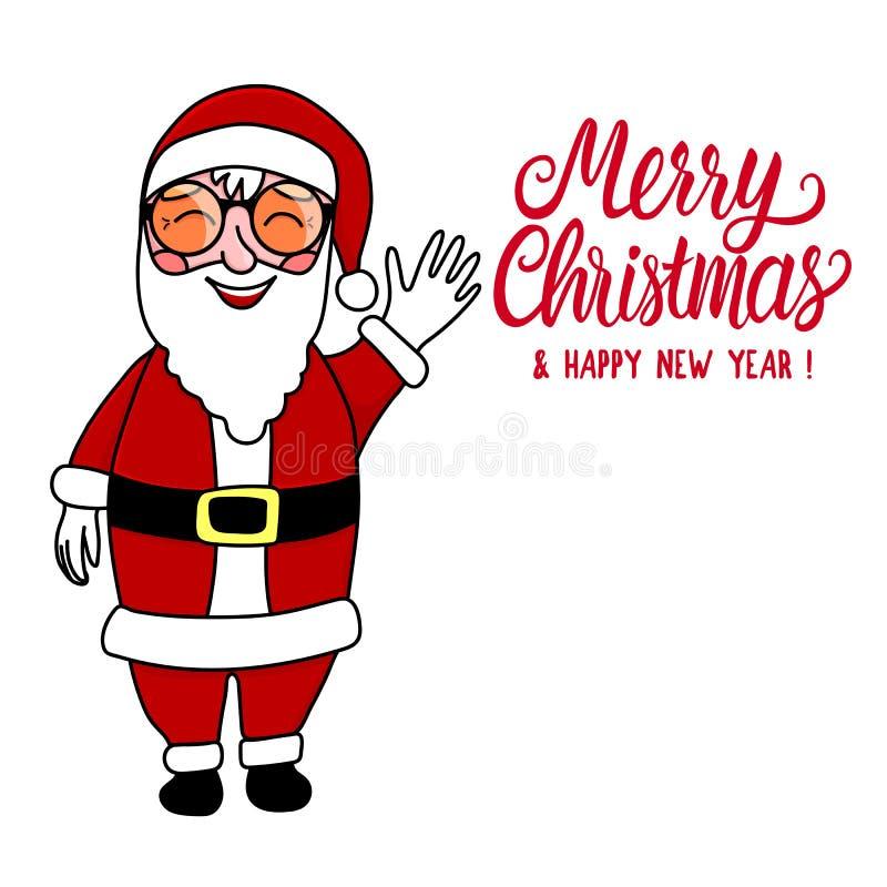 Santa sta ondeggiando e ridendo di integrale Illustrazione del disegno della mano di vettore illustrazione vettoriale