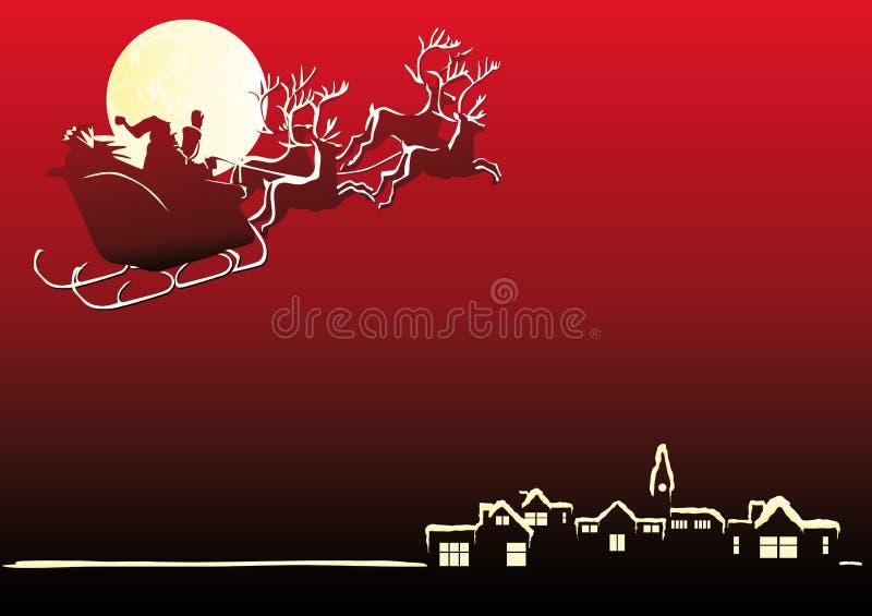 Santa sta venendo alla città royalty illustrazione gratis