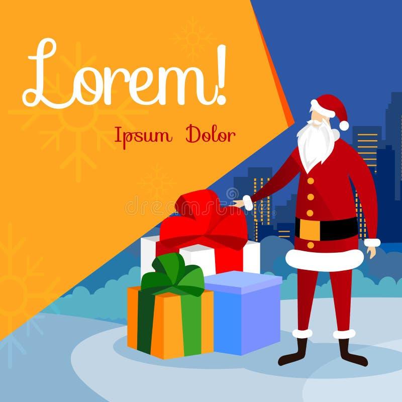 Santa Standing al mucchio enorme dei regali Natale illustrazione di stock