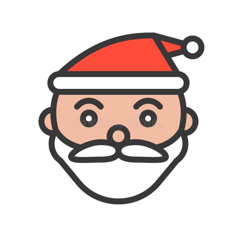 Santa stawia czoło, Wesoło bożych narodzeń ikony odnosić sie set, wypełniający konturu des ilustracja wektor