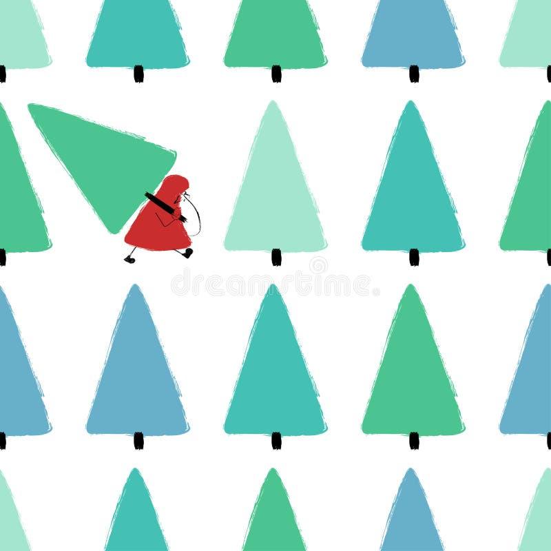 Santa Stealing Christmas Tree Seamless modell vektor illustrationer