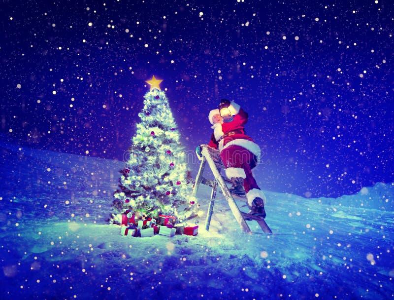 Santa Step-Ladder Christmas Tree Snow-Concept royalty-vrije stock fotografie
