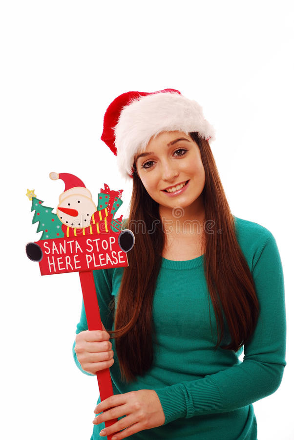 Download Santa stop here! stock image. Image of festive, lady - 12014985