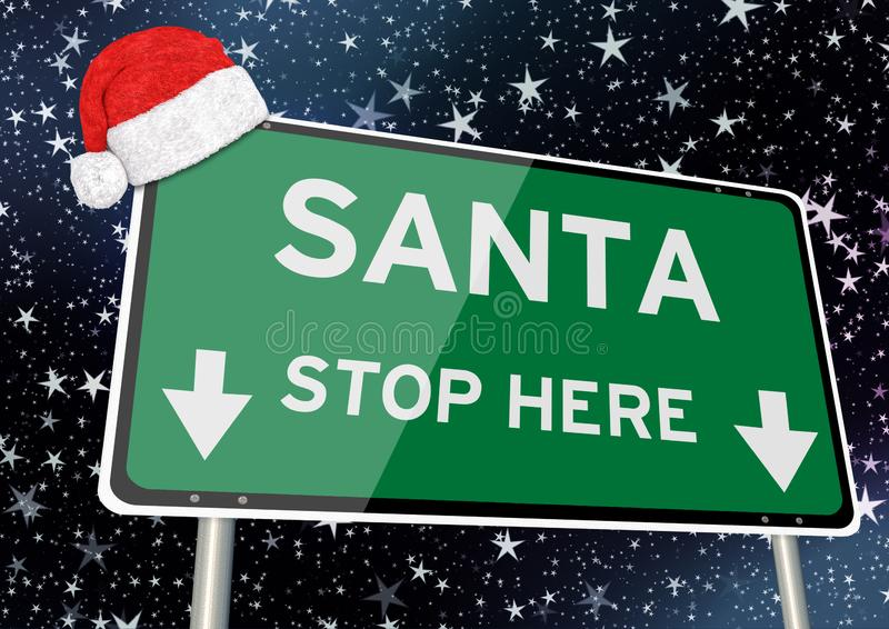 Santa stop here on signpost or billboard against starry sky at christmas or xmas night. Concept Image vector illustration