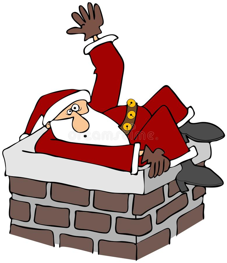 Download Santa stuck in a chimney stock illustration. Image of cartoon - 28032014