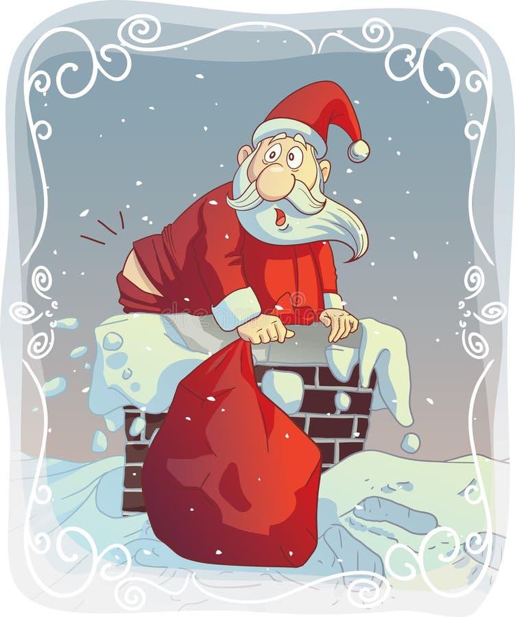 Santa Stuck excesso de peso na chaminé ilustração royalty free