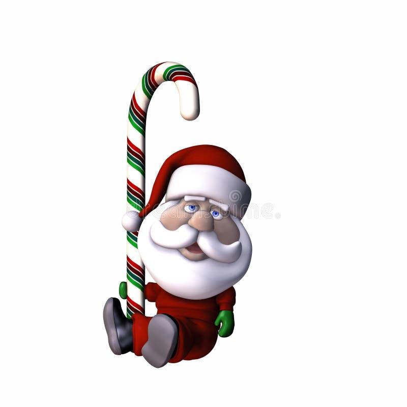 Santa stylisée avec la canne de sucrerie illustration libre de droits