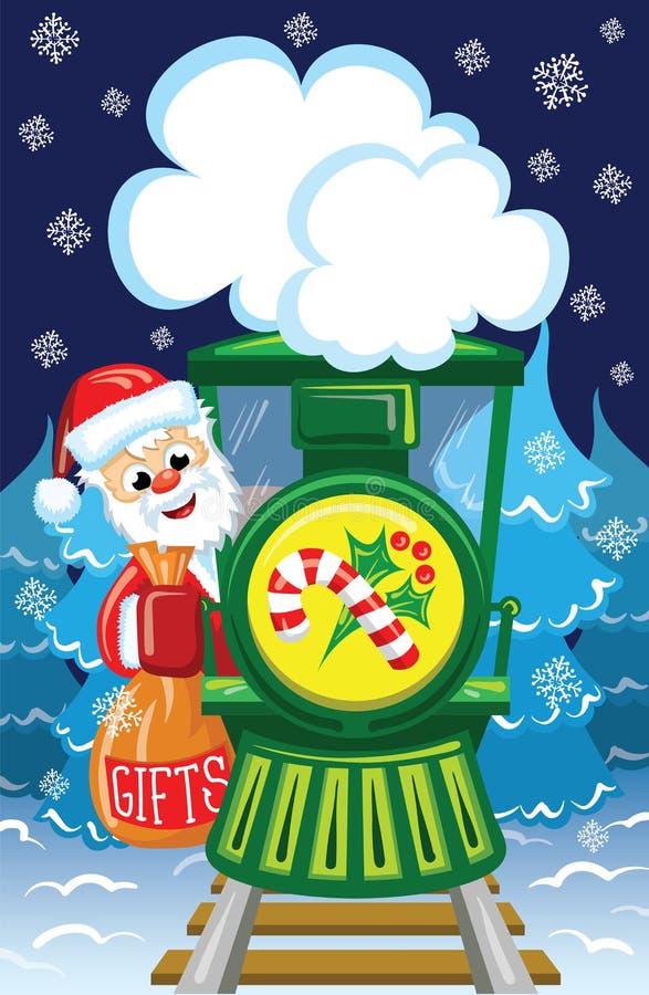 Santa sul treno illustrazione vettoriale