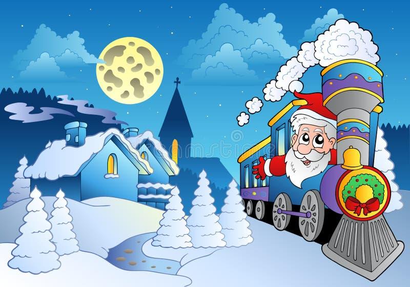 Santa sul treno vicino al piccolo villaggio royalty illustrazione gratis