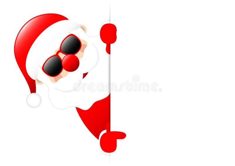 Santa Sunglasses Horizontal Banner Left que muestra en etiqueta ilustración del vector