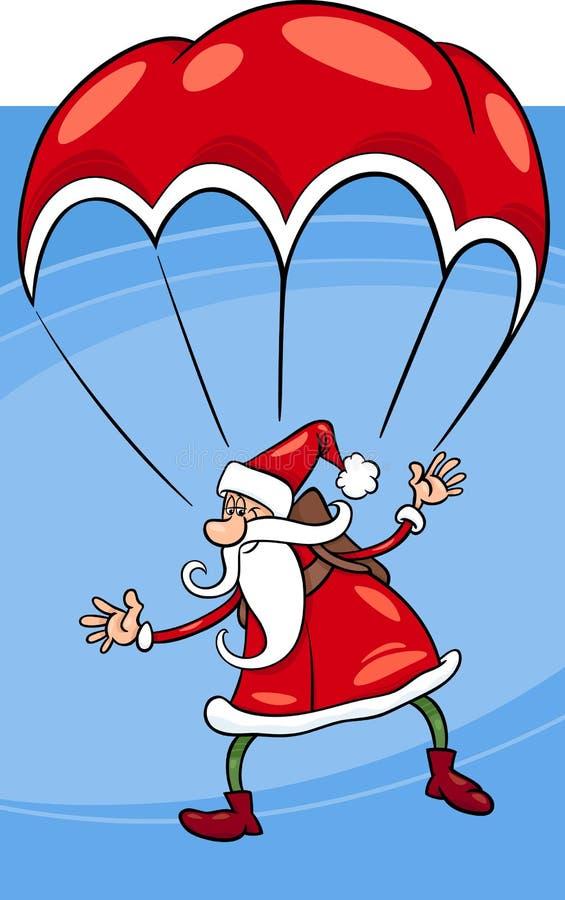 Santa sur l'illustration de bande dessinée de parachute illustration de vecteur