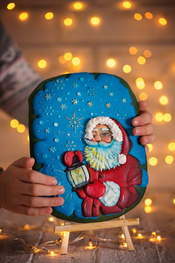 Santa sur le pain d'épice photo stock