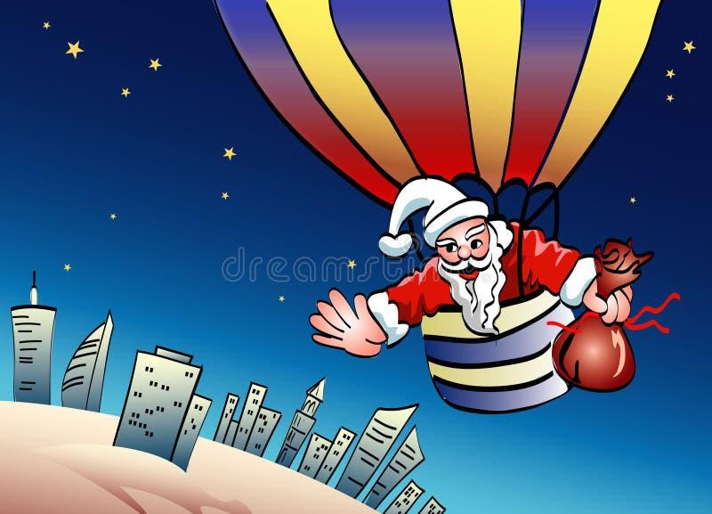 Santa sur le parachute illustration de vecteur