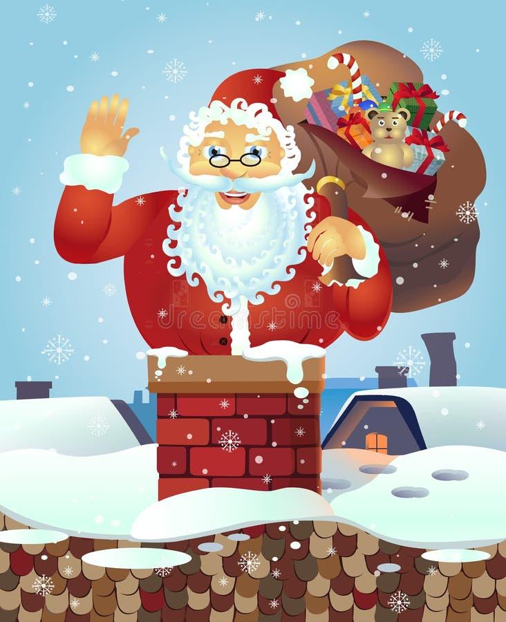 Santa sur le toit avec un sac des cadeaux et de la main de ondulation Bannière d'affiche de carte de Noël Illustration de vecteur illustration libre de droits