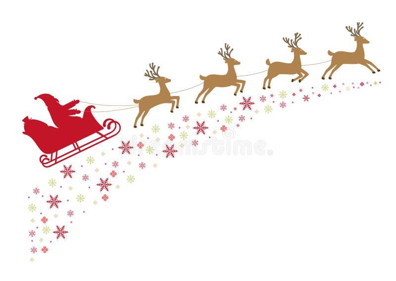 Santa sur un traîneau avec le renne dans le harnais vole le long du sta neigeux illustration de vecteur