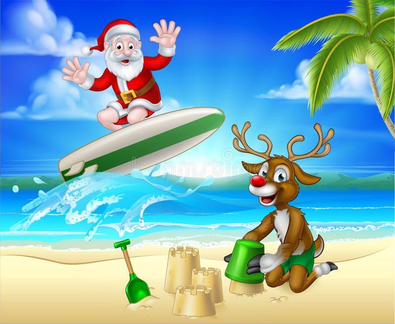 Santa Surfing und Ren auf tropischem Strand lizenzfreie abbildung