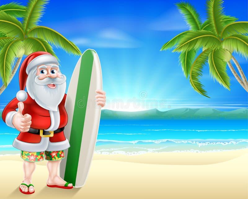Santa surfingowiec na tropikalnej plaży royalty ilustracja