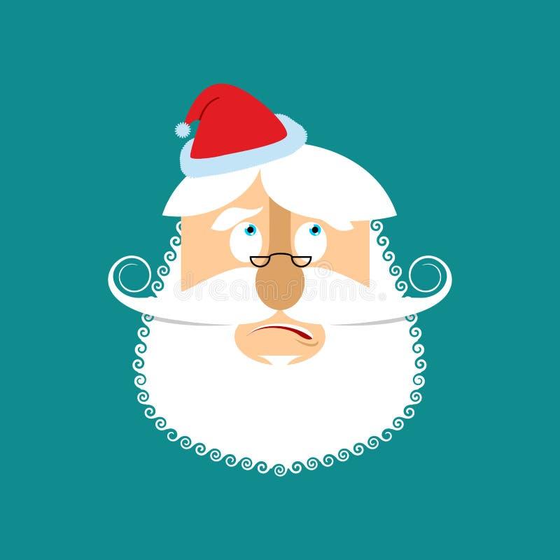 Santa surpreendeu Emoj ilustração stock
