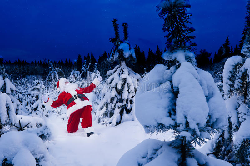 Santa surpreendida no inverno imagem de stock
