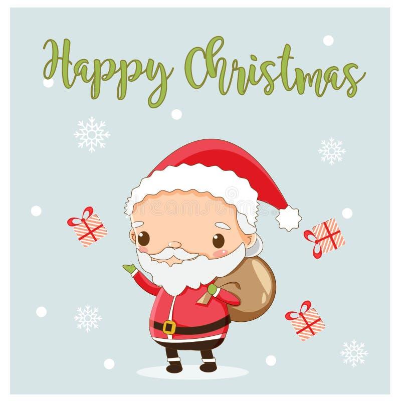 Santa sveglia porta la borsa del regalo per il festival di Natale illustrazione di stock