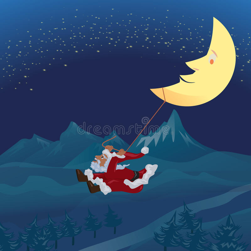 Santa swinging rope tie up with crescent moon in the winter nigh. T over pine ,mountain background and star on sky royalty free illustration