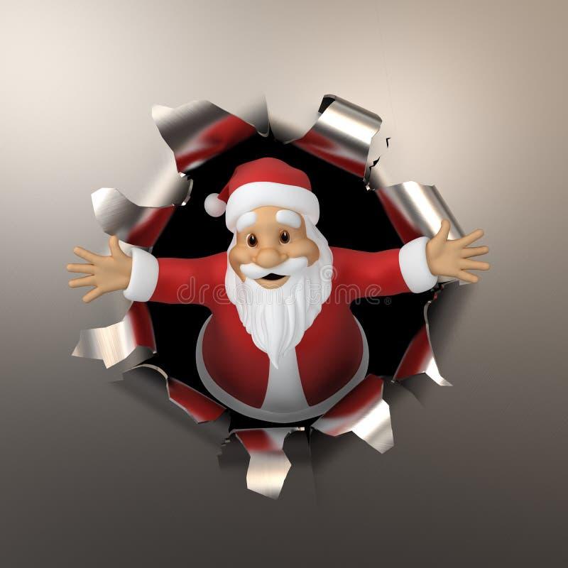 Download Santa tears the metal stock illustration. Image of hole - 43236095