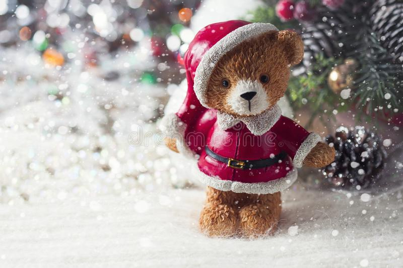 Santa teddy bear, Christmas decorations on a white background. Selective focus royalty free stock images
