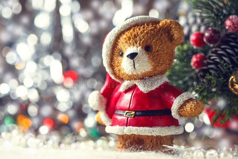 Santa teddy bear, Christmas decorations on a white background. Selective focus stock photos