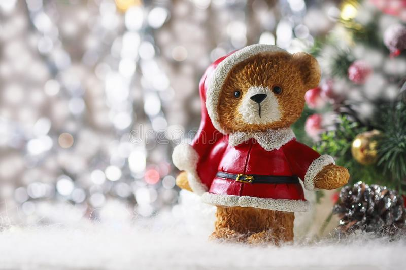 Santa teddy bear, Christmas decorations on a white background. Selective focus royalty free stock image