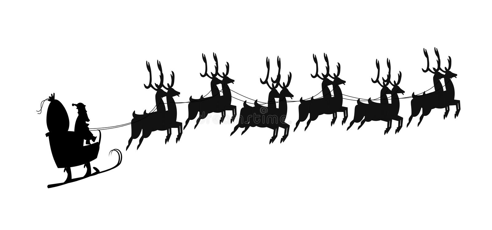 Santa template in silhouette. Santa in black silhouette with 12 reindeer over white stock illustration