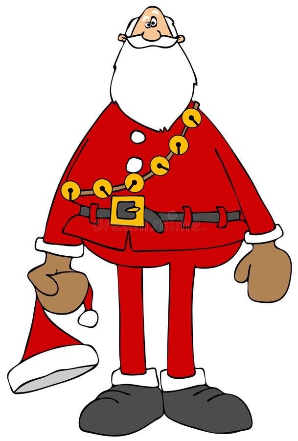 Santa tenant son chapeau illustration libre de droits